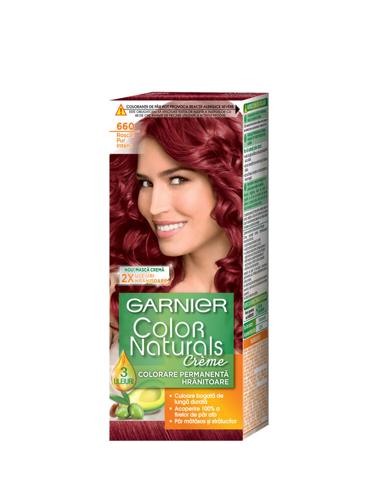 Vopsea de par permanenta cu amoniac Color Naturals 6.60 Roscat Pur Intens, 110 ml