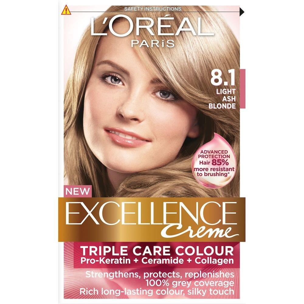 Vopsea de par permanenta cu amoniac L Oreal Paris Excellence 8.1 Blond Deschis Cenusiu, 192 ml