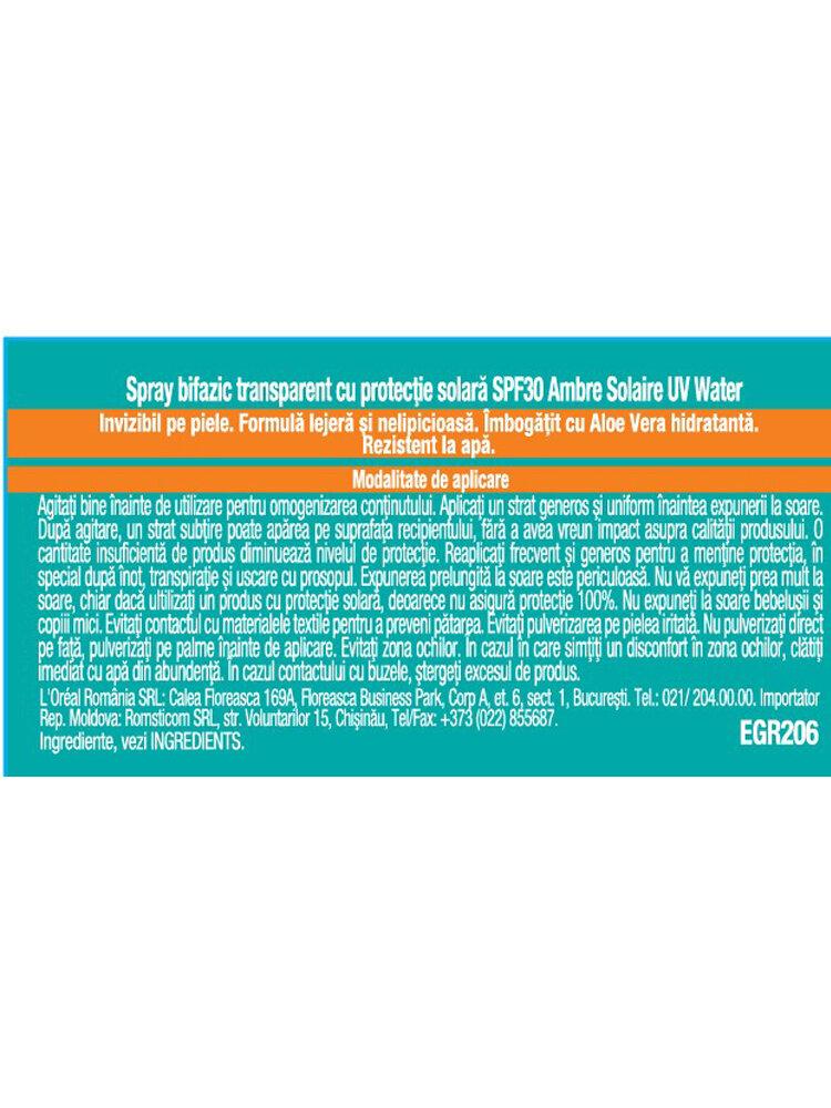 Spray bifazic transparent pentru protectie solar SPF 30 Ambre Solaire UV Water, 150 ml