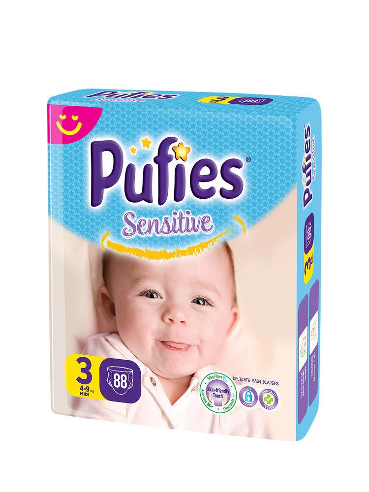 Imagine indisponibila pentru Scutece Pufies Sensitive giant pack, 3 midi, 88 buc