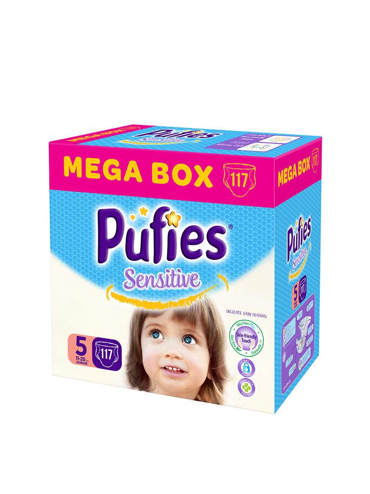 Imagine indisponibila pentru Scutece Pufies Sensitive Mega box, 5 junior, 117 buc