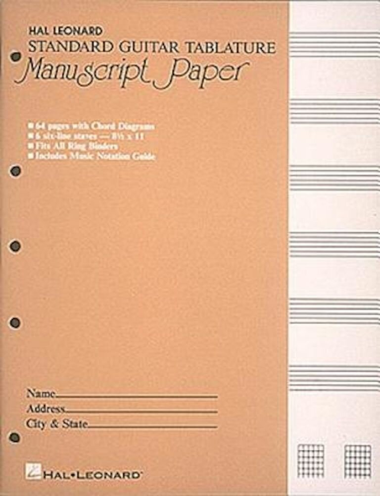 Standard Guitar Tablature Manuscript Paper, Paperback