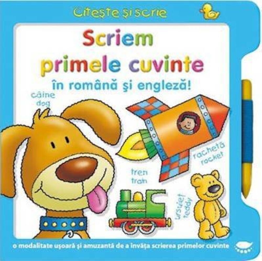Coperta Carte Scriem primele cuvinte in romana si engleza!