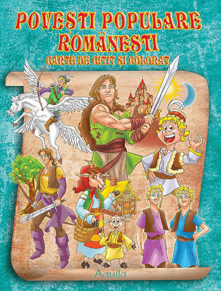 Coperta Carte Povesti populare romanesti. Carte de citit si colorat