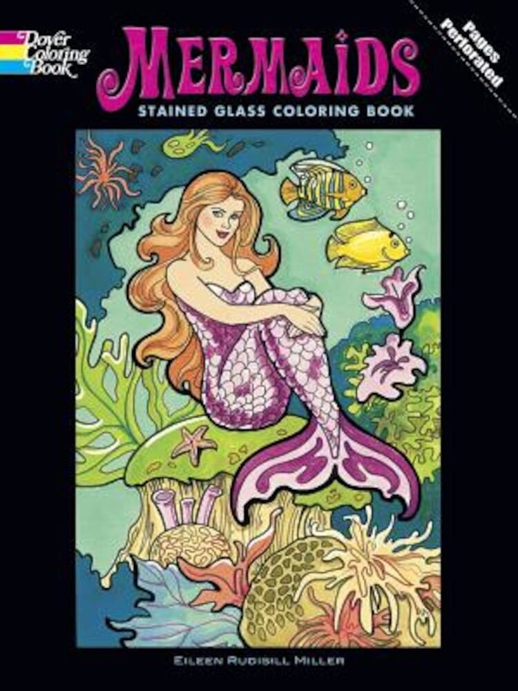 Mermaids Stained Glass Coloring Book, Paperback