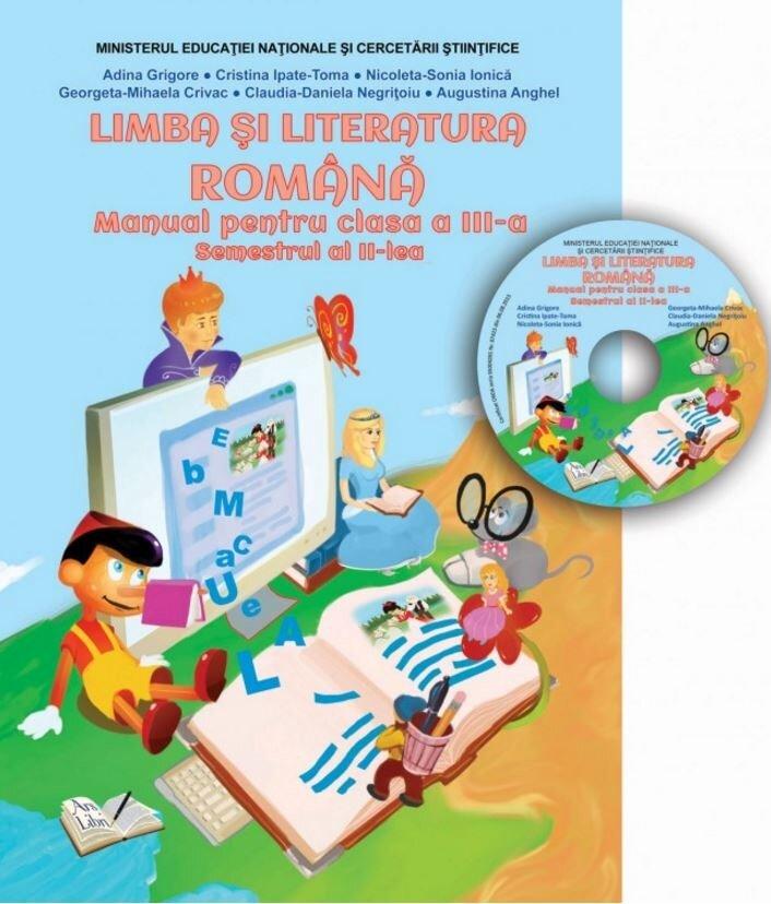 Coperta Carte Manual limba si literatura romana, clasa a III-a, semestrul II (CD inclus)