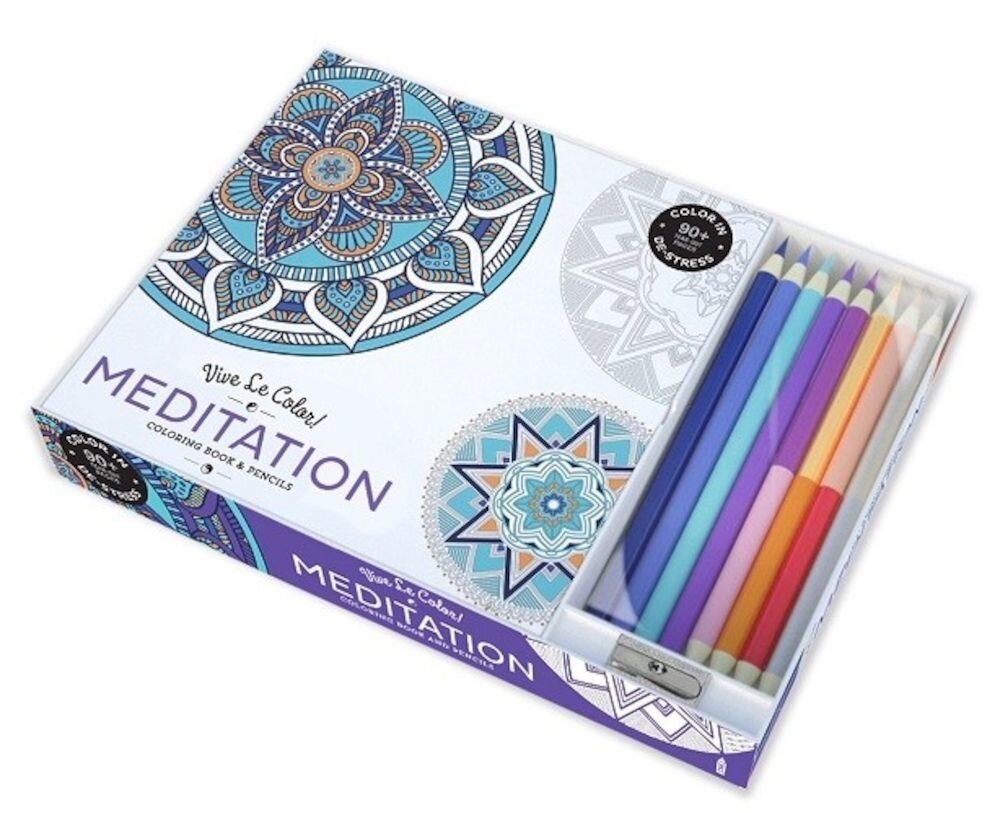 Coperta Carte Vive Le Color! Meditation (Adult Coloring Book and Pencils): Color Therapy Kit