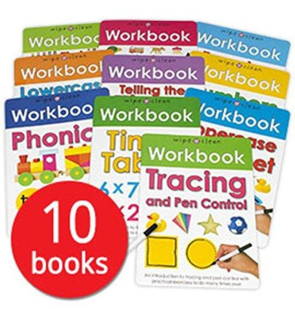 Wipe-Clean Workbook Collection 10 Books Set by Roger Priddy