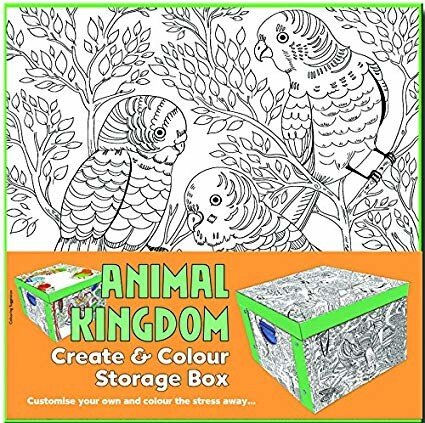 Collapsible Storage Box - Adult Colouring Animal Kingdom