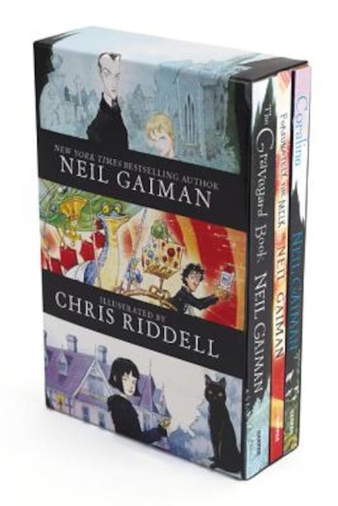 Neil Gaiman/Chris Riddell 3-Book Box Set: Coraline; The Graveyard Book; Fortunately, the Milk, Paperback