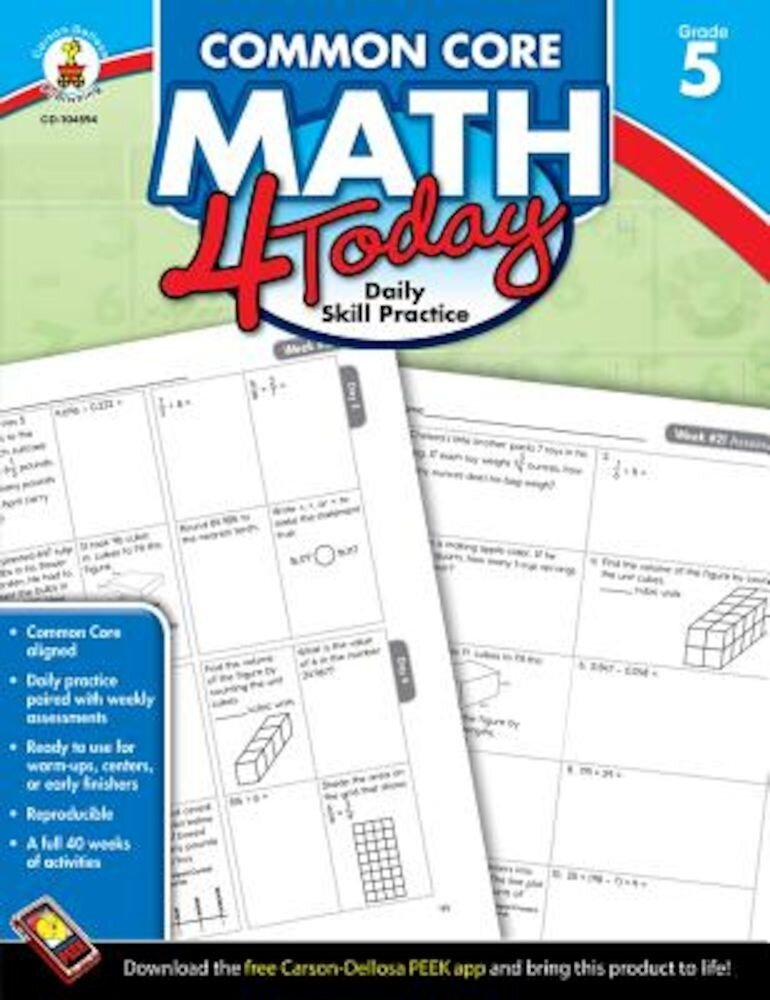 Common Core Math 4 Today, Grade 5: Daily Skill Practice, Paperback