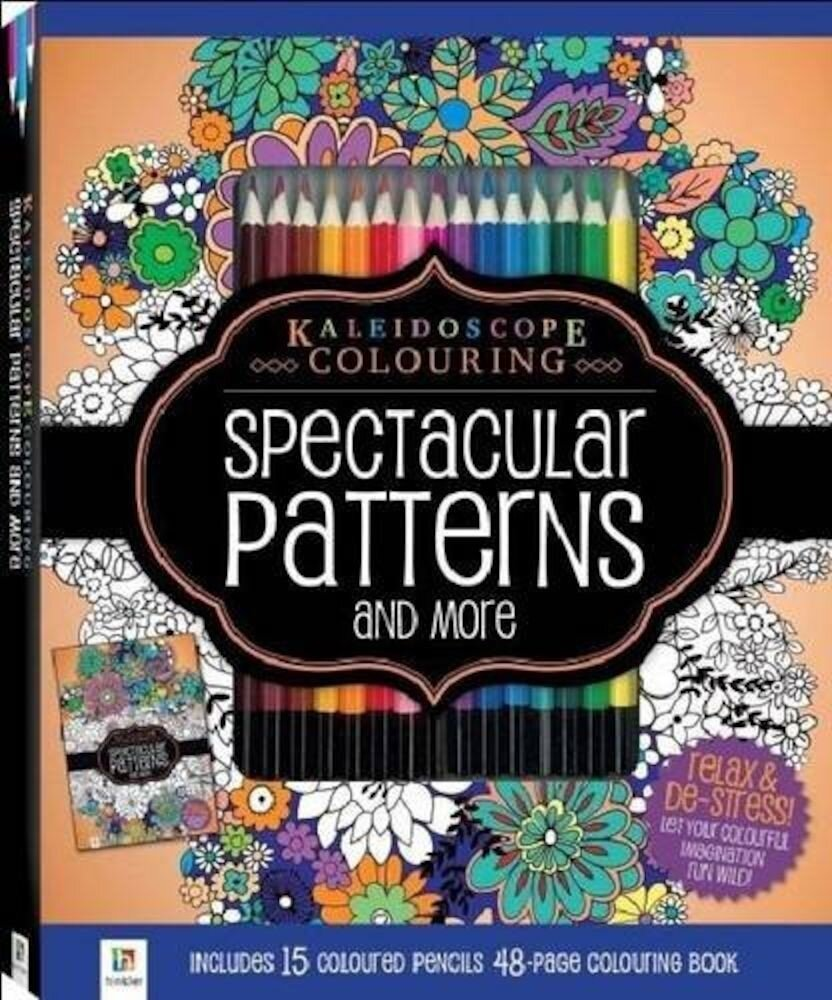 Spectacular Patterns Colouring Kit with 15 Pencils (Kaleidoscope)