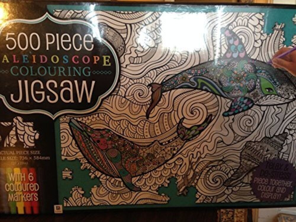 Kaleidoscope Colour-in Jigsaw with 6 Markers: Waves (UK)