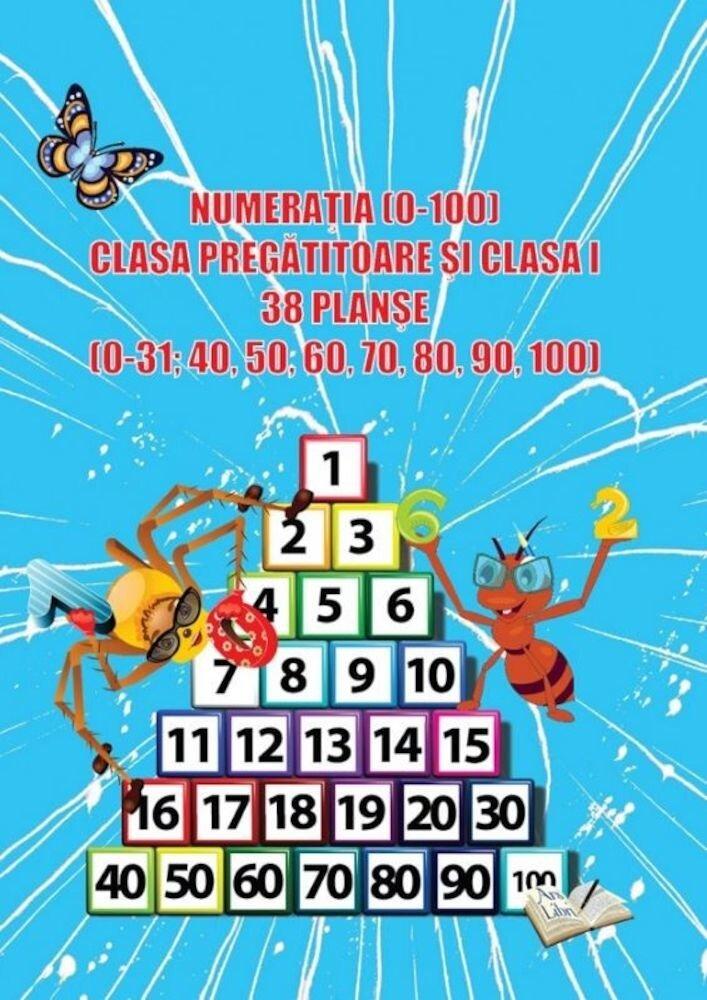 Numeratia (0-100), clasa pregatitoare si clasa I, 38 planse
