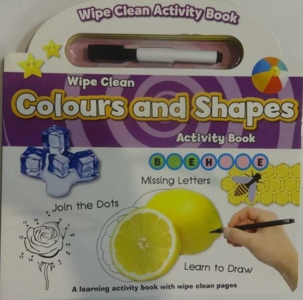 Wipe Clean Book with Pen - Colours & Shapes (Ctn Qty 24)