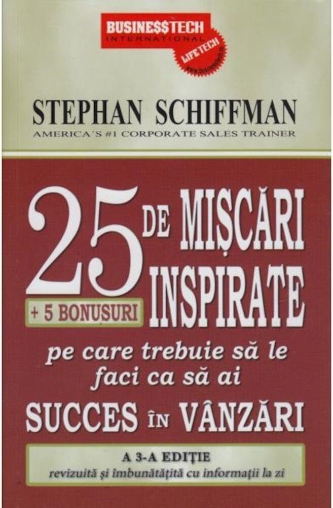 Coperta Carte 25 de miscari inspirate + 5 bonusuri pe care trebuie sa le faci ca sa ai succes in vanzari