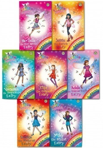 Rainbow Magic Pop Star Fairies Collection 8 Books Set (Una The Concert Fairy, Rochelle The Star Spotter Fairy, Frankie The Make-up Fairy, Miley The Stylist Fairy Vanessa The Dance Step Fairy, Adele Th