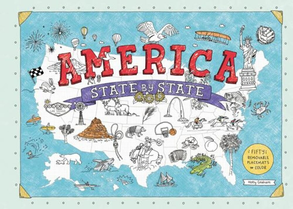 America State by State: Fifty Removable Placemats to Color, Paperback