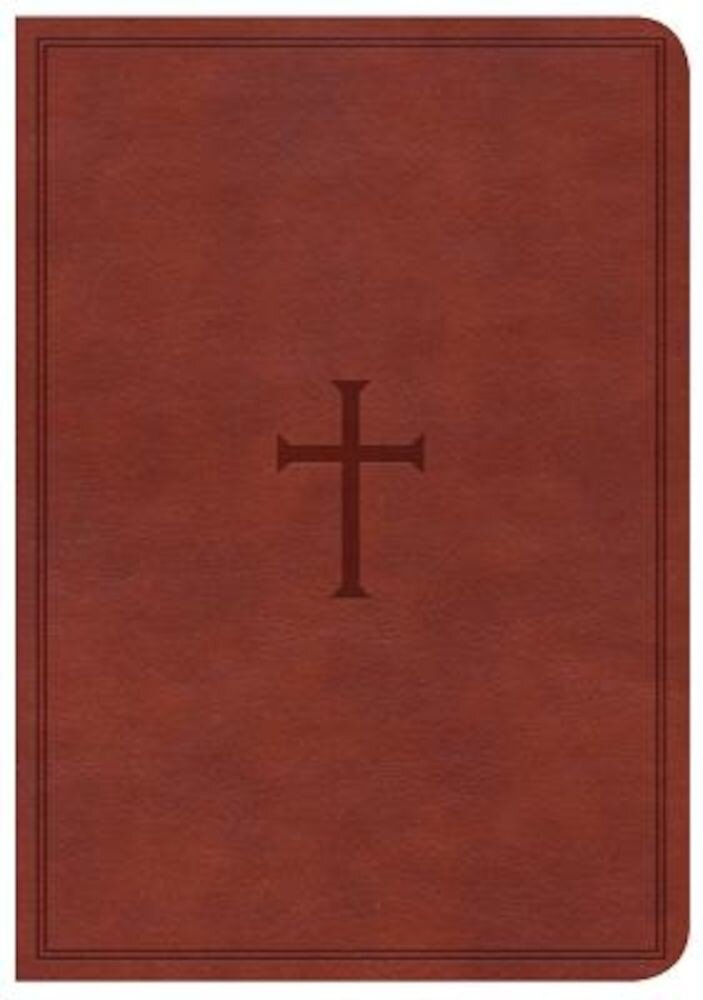 CSB Large Print Compact Reference Bible, Brown Leathertouch, Indexed, Hardcover
