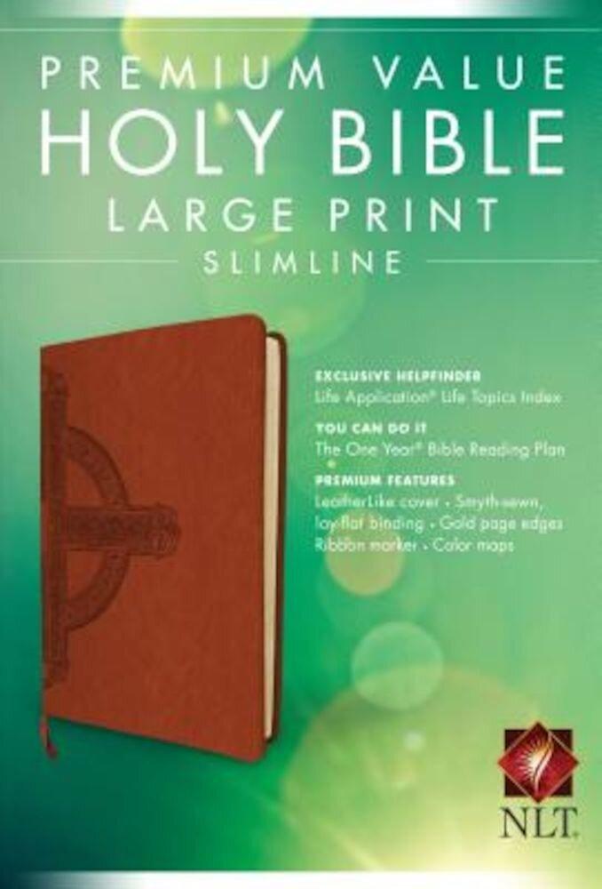 Premium Value Slimline Bible-NLT-Large Print Cross, Hardcover
