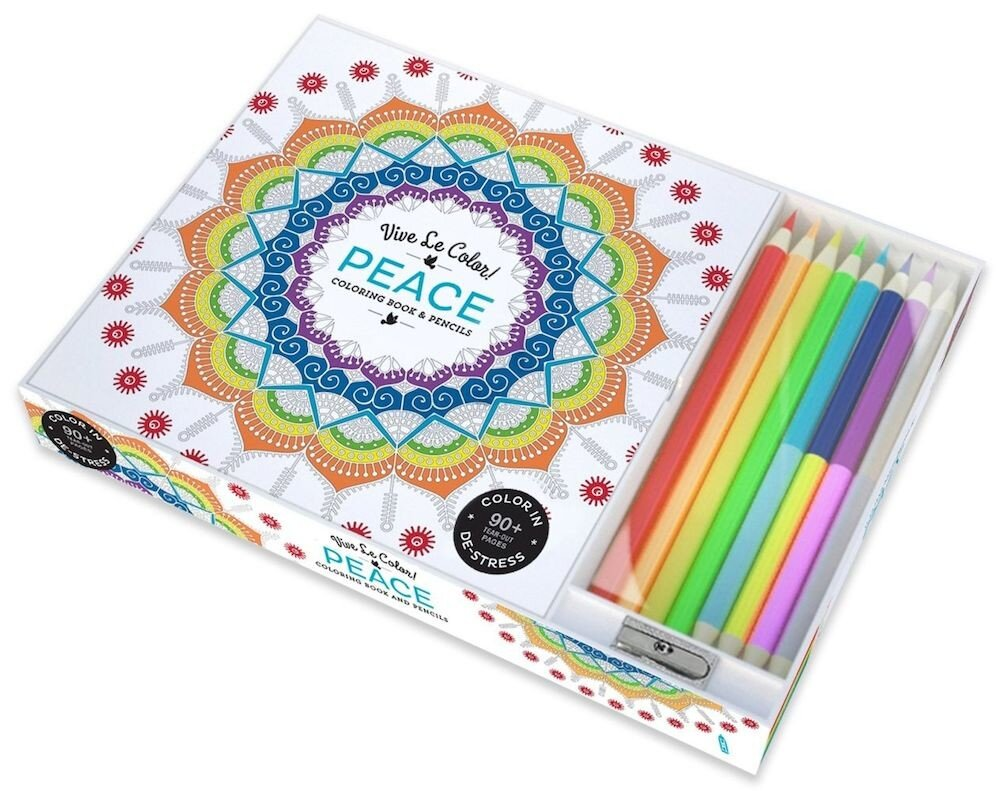 Coperta Carte Vive Le Color! Peace (Adult Coloring Book and Pencils): Color Therapy Kit