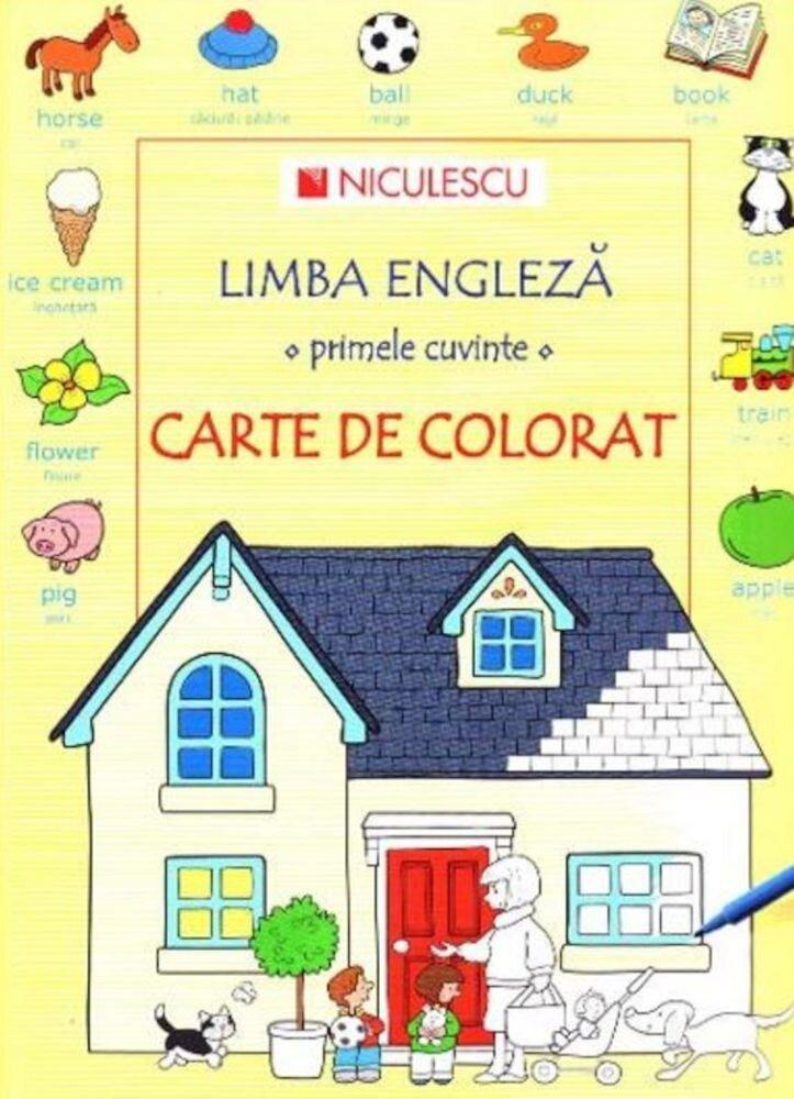 Coperta Carte Limba engleza - primele cuvinte - carte de colorat