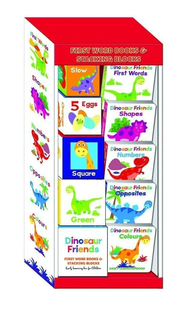 Dinosaur Friends First Word Books and Stacking Blocks Box Set