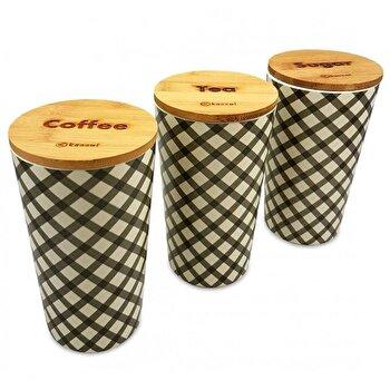 Set 3 recipiente depozitare Kassel, capac bambus, corp melamina, 93554, Maro imagine