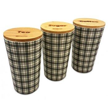 Set 3 recipiente depozitare Kassel, capac bambus, corp melamina, 93555, Maro imagine