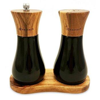 Set solnita si rasnita pentru sare si piper Kassel, lemn de salcam, mecanism ceramica, 93574, Negru/Maro imagine