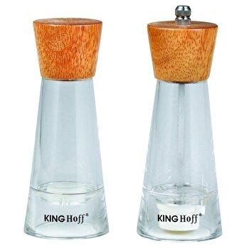 Set rasnita si solnita KingHoff, lemn si plastic, mecanism ceramica, KH-4680, Maro imagine