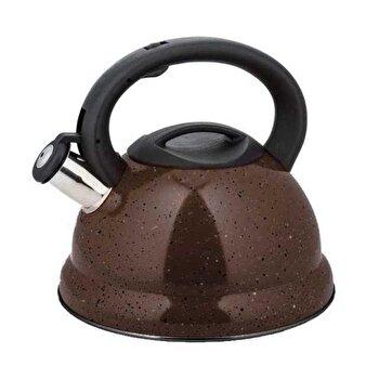 Ceainic din inox cu fluier, KingHoff, 3 l, inductie, KH-3787-BR, Maro imagine