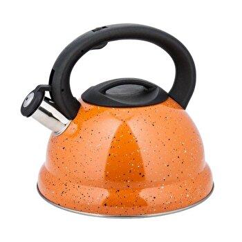 Ceainic din inox cu fluier, KingHoff, 3 l, inductie, KH-3787-OR, Portocaliu