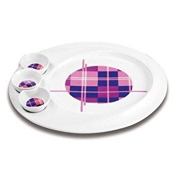 Platou pentru aperitive, Nava, portelan, 35,3 cm, seria Carreaux, 10-06-013-009, Mov
