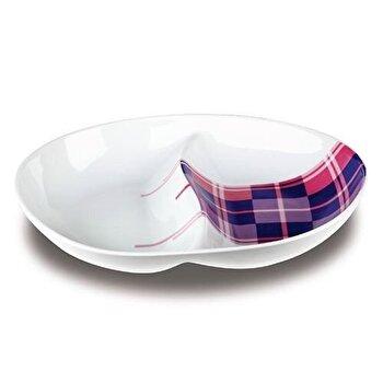 Platou pentru aperitive, Nava, portelan, 25,4 cm, seria Carreaux, 10-06-013-008, Alb