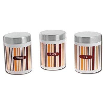 Set de 3 cutii metalice, Nava, 12122-TCS-WH, Multicolor