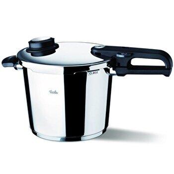 Oala sub presiune Fissler VitaVit Premium, 10 L, 26 cm, accesoriu aburi, inductie, inox, Gri imagine
