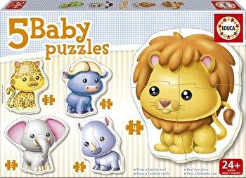 Puzzle Baby Wild Animals, 19 piese