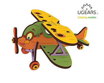 Puzzle 3D de colorat - Biplan, 23 piese