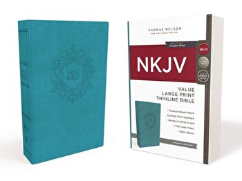 NKJV, Value Thinline Bible, Large Print, Imitation Leather, Blue, Red Letter Edition, Hardcover/Thomas Nelson poza cate