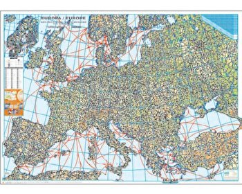 Coperta Carte Harta de perete - Harta Europei fizica si rutiera