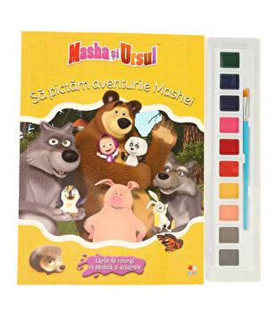Coperta Carte Masha Si Ursul. Sa Pictam Aventurile Mashei. Carte de colorat cu pensula si acuarele