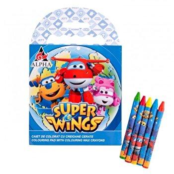 Caiet de colorat cu creioane cerate Super Wings poza