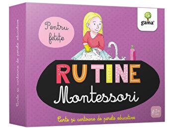 Rutina zilnica Montessori pentru fetite – Cartoane de perete educative si decorative/***