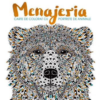 Coperta Carte Menajeria. Carte de colorat cu portrete de animale