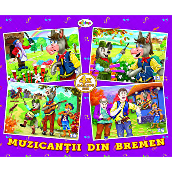 Puzzle - muzicantii din bremen (4 imagini - 59 de piese)/*** imagine