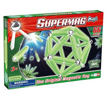 Supermag Maxi Glow - Set constructie magnetic luminos, 66 piese