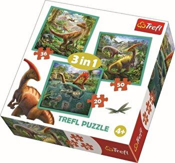 Puzzle 3 in 1 - Lumea extraordinara a dinozaurilor, 106 piese