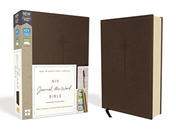 NIV, Journal the Word Bible, Imitation Leather, Brown, Red Letter Edition, Comfort Print: Reflect, Take Notes, or Create Art Next to Your Favorite Ver, Hardcover/Zondervan imagine