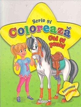 Scrie si coloreaza cai si ponei - verde/*** poza